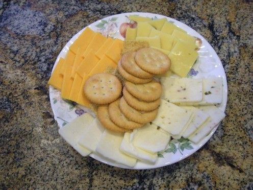 An assortment of cheese and crackers is always a hit