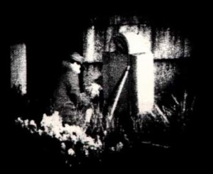 "The only known photo of ""The Poe Toaster"" was captured by a motion activated camera that was set up in the cemetery in 1990."