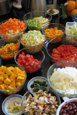 Bulk cooking day - vegetables in all colours!