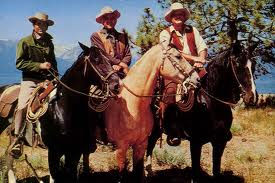 (FROM LEFT) JOE, BEN AND HOSS PAUSE FOR A BREATHER FROM RIDING OVER THEIR MASSIVE ACREAGE KNOWN AS THE PONDEROSA.