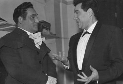 Richard Tucker speaking with Lanza 1n 1958 at Tucker's Covent Garden debut
