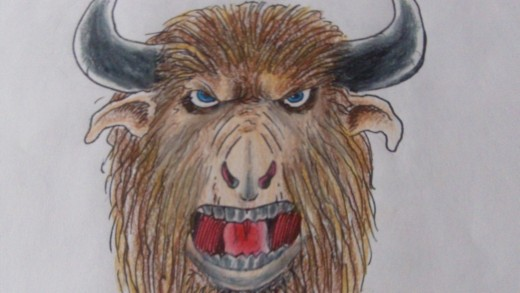 Drawing and coloring a Minotaurs head by Wayne Tully.