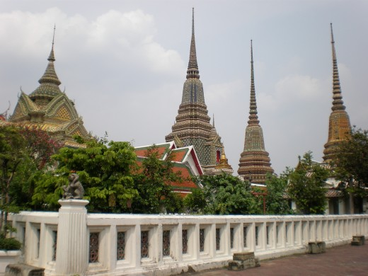 Some of the myriad stupas within the Wat Pho Buddhist Complex in Bangkok, Thailand.