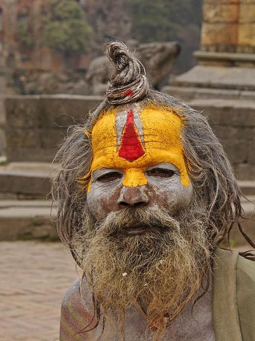 Photo of Naga sadhu in Pashupatinath temple, Nepal by Jean-Marie Hullot via Wikimedia Commons