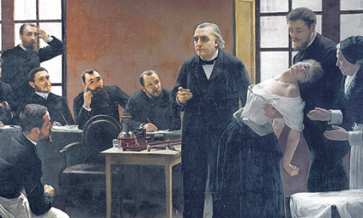 detail of a painting showing Charcot displaying one of his hysteric patients.