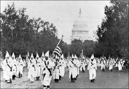 The KKK marches on Pennsylvania Ave., Washington, D.C., in the 1920s