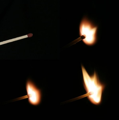 Ignition of a match. Honestly it's the ignition of three matches in different stages