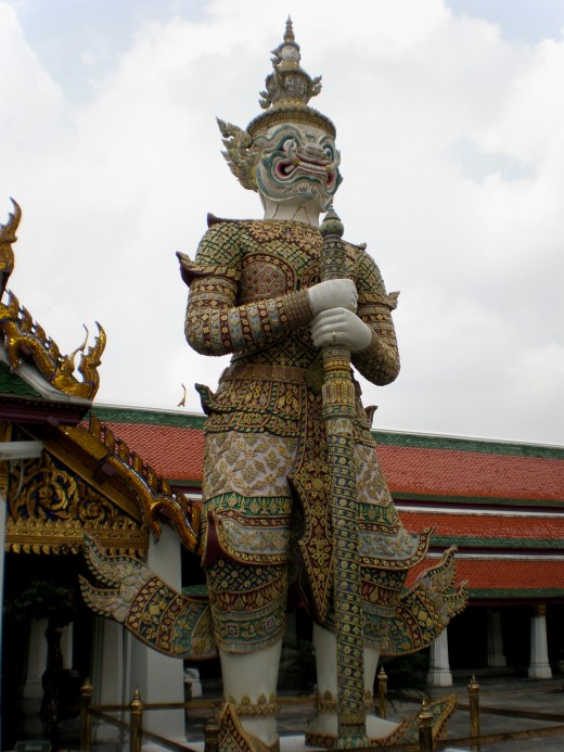 One of Wat Phra Kaew's iconic statues. Bangkok, Thailand.