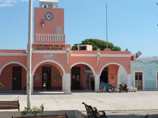 Celestun, Mexico is a quaint town, with beaches nearby. Many language schools in the Yucatan area take excursions there.