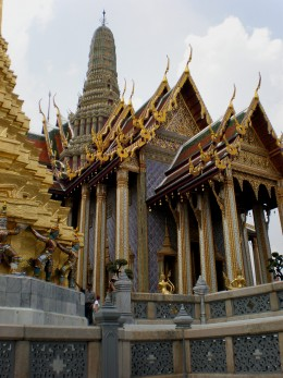 Buddhist architecture and design at its fullest; Buddhist Temple of Wat Phra Kaew in Bangkok, Thailand.