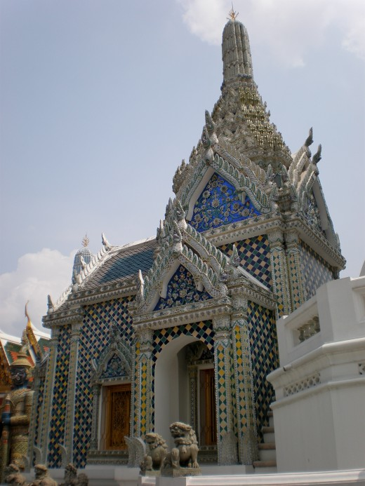 Unusual chapel that stands out of the mainstream styles; Buddhist Temple of Wat Phra Kaew in Bangkok, Thailand.