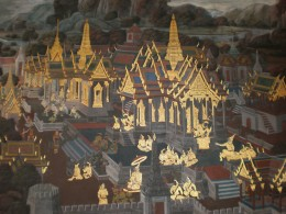 Buddhist paintings of Wat Phra Kaew; Murals depicting the Ramakian epic stories. Bangkok, Thailand.