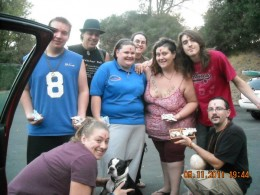 Pua, Jen, Zack, Mattie, Me, Daniel, Morganna, David, and Shawn at the lake. We were going to put our Ganesha clay molds in the lake.