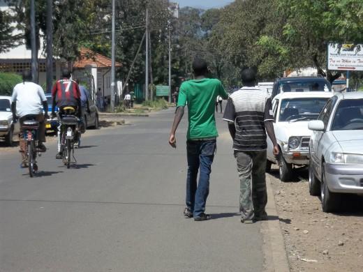Walking is the easiest way to get around in Kisumu.