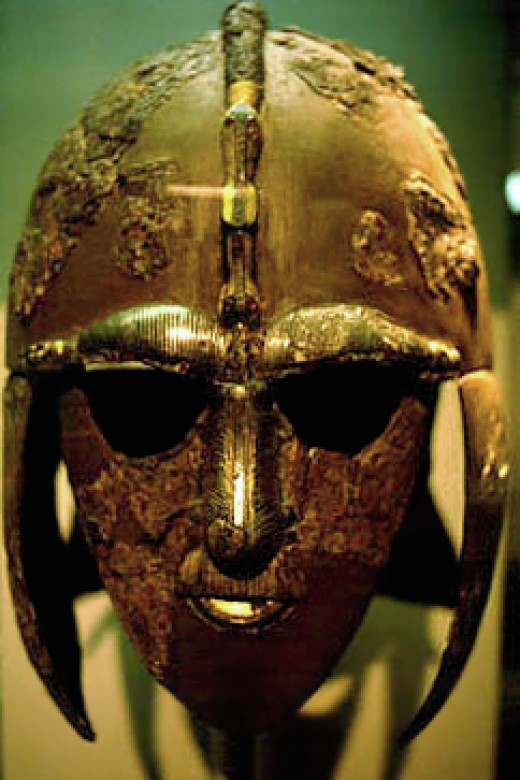 The reconstructed Sutton Hoo parade helmet found in Suffolk and thought to have belonged to Raedwald, king of the East Angles