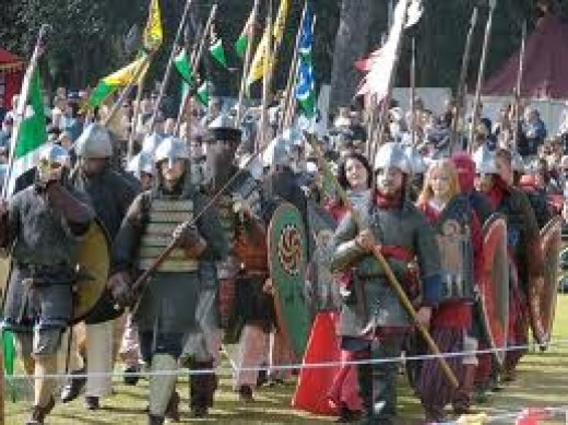 Varangian Guardsmen, their equipment thought to resemble that of the early 7th Century Scandinavian warriors