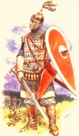 A Rus officer in battle dress order with the later type of kite-shaped shield baggy breeks as per early Viking style and eastern-looking plumed helm
