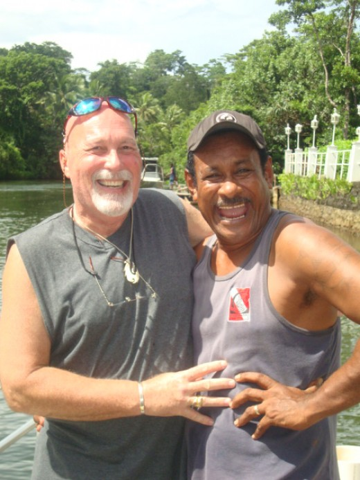Sharing a Laugh with the much respected Fijian Chiefly spokesman, Manasa Bulivou.  One of the greatest wild shark handlers I have ever known!