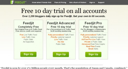 You can select the free version of Feedjit, or one of the paid options.