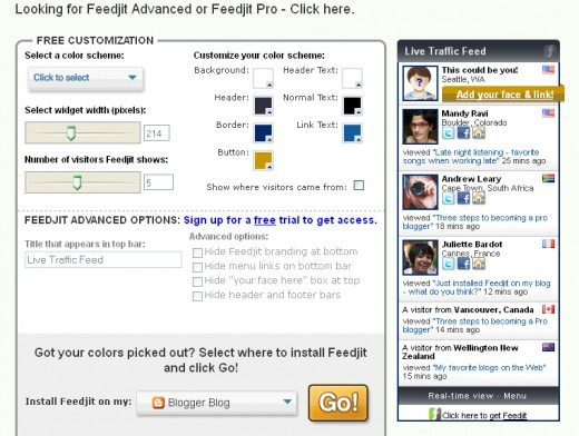 Customize the appearance of your Feedjit live feed widget.