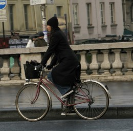 A woman on a bike in Paris