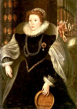 Elizabeth with a sieve, a symbol of virginity.