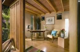 The interior of an Upgraded Cabana. The exposed rafters help create a nice, homey feel.