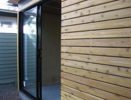 A view of the Functional Cabana exterior with sliding door opened.