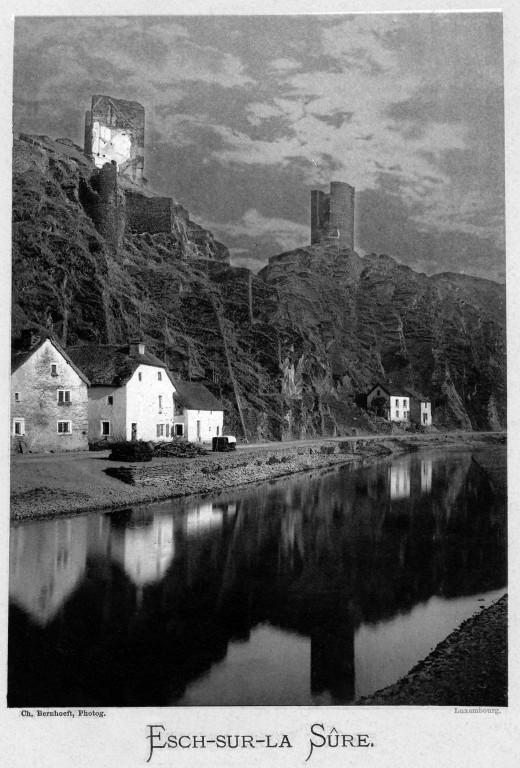 Esch-sur-Sûre, photographed in 1891 by Charles Bernhoeft, 'Le Grand-Duché de Luxembourg (Album phototypique)'.