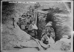 Wounded British in their trenches