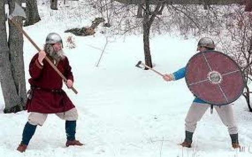 Fighting with axes - one of the combatants has a shield, how long will it last being battered by his opponent, and how long will his arm hold out with its weight? His opponent's long handled axe has the greater reach