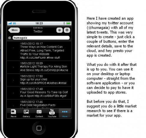 Screenshot and description of an app created by Humagaia using TheAppBuilder