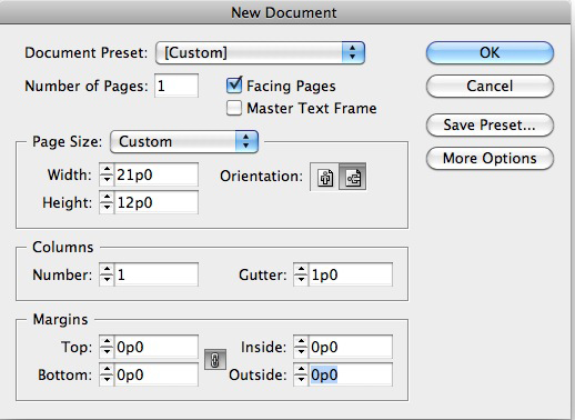 Create a new Adobe InDesign document