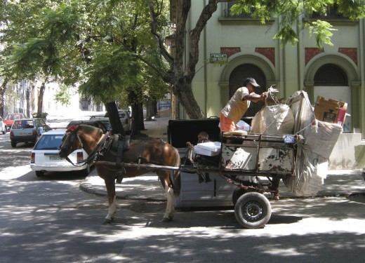 Horse and cart recycling team