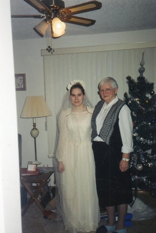 Grandma and me, me in her wedding dress.