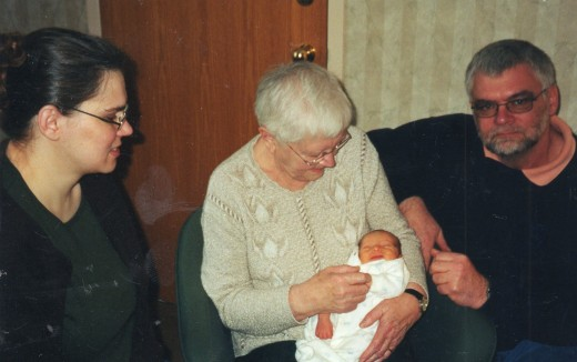Grandma meeting my daugher Maeve for the first time.  Maeve was her first, long waited for, great-grandchild.