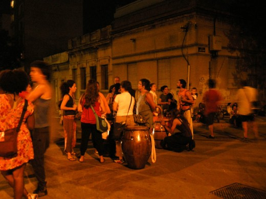 Street party with drumming