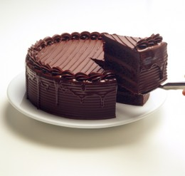 Fudgy chocolate cake.