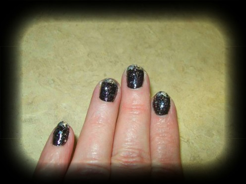 Black & silver French manicure with glitter topcoat!