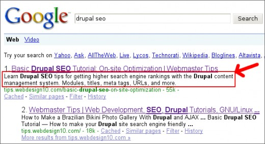 An example meta description on Google's SERP