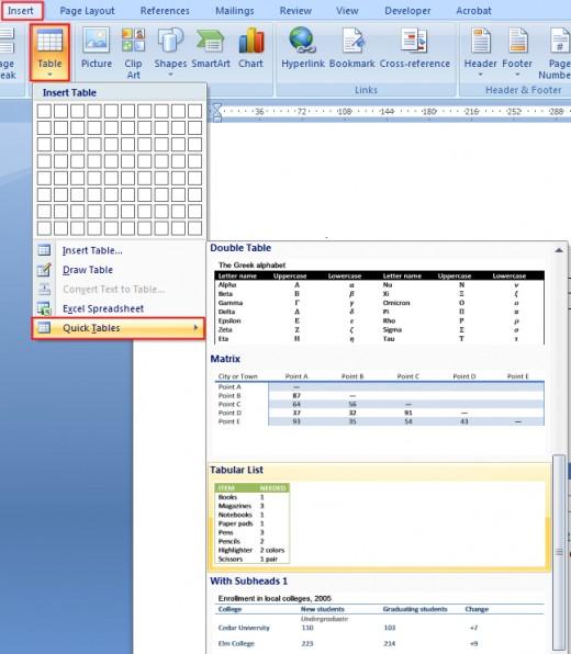 Microsoft Word Table Options