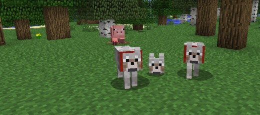 Minecraft puppy and parent wolves.