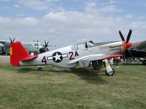 Red Tail P-51C. [The P-51C's replaced old broken down planes so the Tuskegee Airmen could do their jobs well. ]