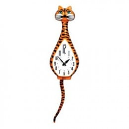 Ashton Sutton ST3204 Cat Shaped Pendulum Wall Clock
