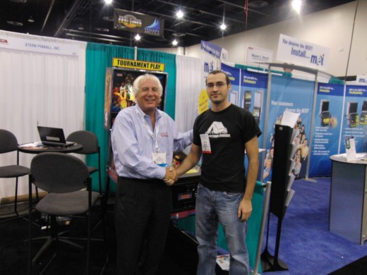 George Himes with Gary Stern of Stern Pinball.  George worked for me for several years and now lives in Vegas.