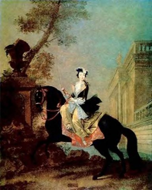 It is said that Catherine rode side saddle to show off her shapely legs.    [Georg Christoph Grooth (1716-49). Equestrian portrait of Grand Duchess, Catherine the Great]