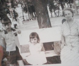 Me, Kay, and Grandma at a park in Iowa in the 1950's.