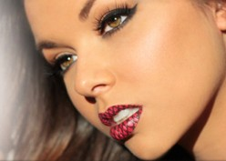 Violent Lips temporary lip tattoos bring vivid bright colors and patterns to any woman's face