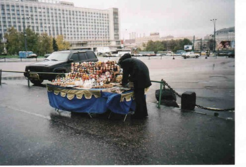 There are many street vendors in Moscow city. The wooden dolls are very popular and not too expensive.