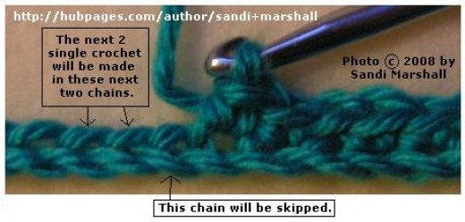 The photo above: Row 1 is in progress on the starting chain.